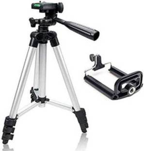 Be Style TRIPOD Tripod 3110 Foldable Camera Tripod With Mobile Clip Holder Bracket, Fully Flexible Mount Cum Tripod, Standwith 3D Head & Quick Release Plate Tripod (Silver & Black, Supports Up to 1500g) Tripod