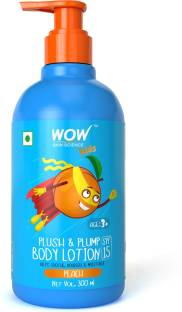 WOW SKIN SCIENCE Kids Plush & Plump Body Lotion - Peach - SPF 15 - No Parabens, Mineral Oil, Silicones & Color - 300mL