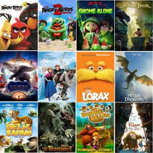 The Angry Birds 1 & 2 Gnome Alone The Jungle Book Dumbo Frozen The Lorax Pete's Dragon Delhi Safari The Tarbosaurus Boonie Bears Klaus (12 movies) (dual audio Hindi and English) (clear HD print clear audio) it's burn DATA DVD play only in computer or laptop it's not original without poster