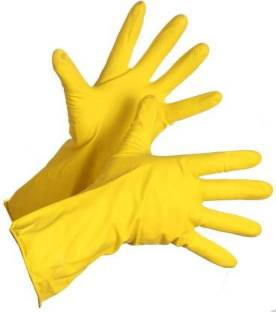 D.C Enterprise Rubber Hand Gloves for Washing Cleaning Kitchen and Garden Hand Care Household Yellow Rubber Gloves Large Pack of 2 Wet and Dry Glove Set