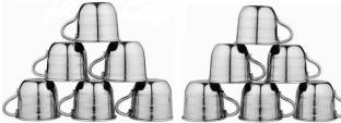 Yes kitchen Pack of 12 Steel Steel Tea /Coffee Cup, Set of 12 Piece, Sliver,60 ML Steel