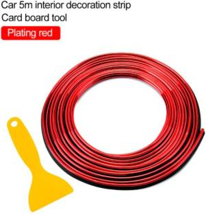AUTOELITE Metallic Red Chrome Interior Decoration Beading, Flexible Styling PVC Moulding Trim Strip (5 Meters) Car Beading Roll For Grill and Garnish Cover