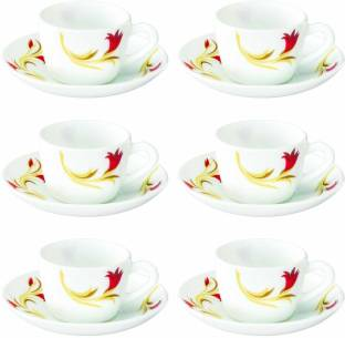 BOROSIL Pack of 6 Opalware Larah By Borosil Red Lily Cup Saucer Set