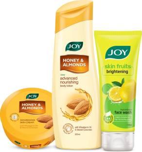 Joy Honey & Almonds Advanced Nourishing Body Lotion 300ml + Honey & Almonds Nourishing Skin Cream 200ml+ Skin Fruits Active Brighteing Lemon Face Wash 100ml