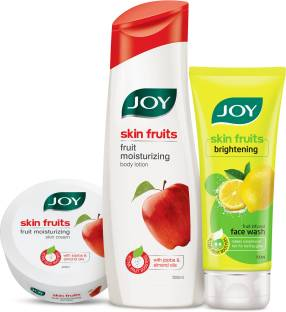 Joy Skin Fruits Fruit Moisturizing Body Lotion 500ml + Skin Fruits Fruit Moisturizing Skin Cream 200ml + Skin Fruits Active Brighteing Lemon Face Wash 100ml