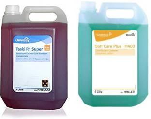 Diversey Taski R1 Super Bathroom Cleaner-cum-Sanitiser Concentrate And Taski SOFTCARE PLUS H400 Disinfectant Cleanser Bottle (10) Regular