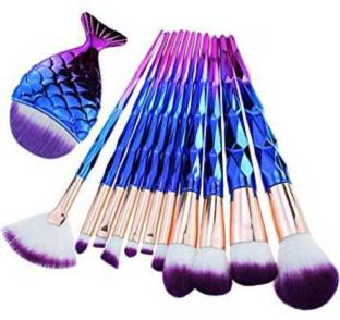 Sixplus Makeup Brushes Set 11pcs 3D Mermaid With Free Silicon puff