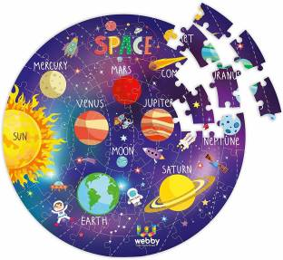 Pacific Toys Solar System Jigsaw Floor Puzzle 60 Pcs with 4 Double Sided Flashcards