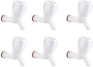 "UNIQUE CREATION White PVC Plastic Bibcock/Water Tap for Kitchen, Bathroom Wash Basins - Set of 6 (1/2""..."