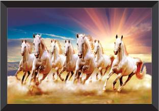 SAF 7 Horses Nature Framed UV Coated Digital Reprint 11 inch x 14 inch Painting