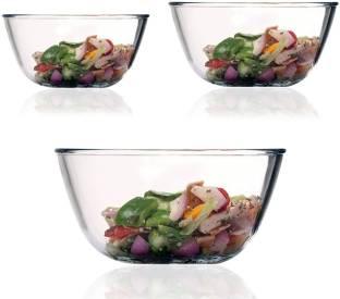 Femora Borosilicate Glass Mixing Bowl Microwave Safe 400ml,1050ml, 1650ml, Borosilicate Glass Serving Bowl