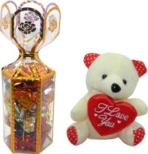 Rich'U Chocolates Floral Chocolate Gift Box With a Cute I Love You Teddy Bear Combo