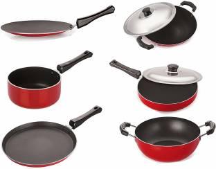 NIRLON Gas Compatible Non-Stick Aluminium Cookware Set, 6-Pieces, Red/Black Cookware Set