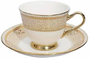 Trendhook Pack of 12 Bone China Uber Gold Printed Tea & Coffee Cups & Saucer