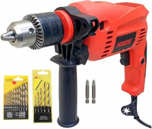 CHESTON Cheston 13mm Impact Drill Machine Reversible Hammer Driver Variable Speed Screwdriver (Drill with BITS for Drilling and Screwdriver) CHD-13RE-13MM.KIT. Pistol Grip Drill