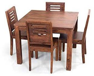 True Furniture Mango Wood Dining Table Set With 4 Chairs For Living Room Furniture Teak Finish Solid Wood 4 Seater Dining Set Price In India Buy True Furniture Mango Wood Dining