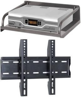 Techfit Wall Bracket (Metal Body) Universal 32 to 43 inch LED/LCD TV Wall Mount Bracket with Steel Set Top Box Stand/DTH Stand/Set Top Box/Dth Holder Combo Steel Wall Shelf