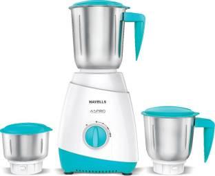 HAVELLS 3 JAR MIXER GRINDER Aspro 500 W Mixer Grinder (3 Jars, WHITE-LIGHT BLUE)