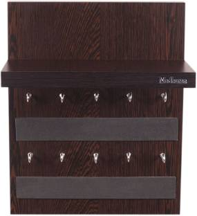 Madhuran Display10 Hook Key holder Wenge With Shelf shelves rack Wood Key Holder