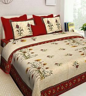 Pinglaksh 150 TC Cotton Double Floral Bedsheet