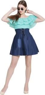 M.R Fashion Women A-line Blue Dress
