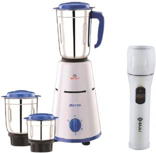 BAJAJ Pluto Mixer Grinder Combo With Chamak Tourch 500 W Mixer Grinder (3 Jars, White, Blue)