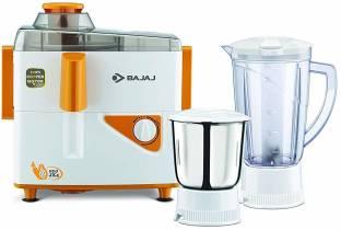BAJAJ NEOJX4 450 Juicer Mixer Grinder (2 Jars, WHITE-ORANGE)