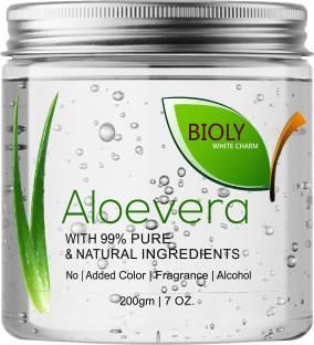 Bioly Organic Aloe Vera Gel Great for Face, Sunburn Relief, Acne, Razor Bumps, Psoriasis, Eczema, Dry Skin Hydration