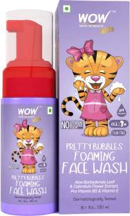 WOW SKIN SCIENCE Pretty Bubbles Foaming  with Aloe Barbadensis Leaf & Calendula Flower Extract - Tear Free - No Parabens, Sulphates, Silicones & Color - 100mL Face Wash
