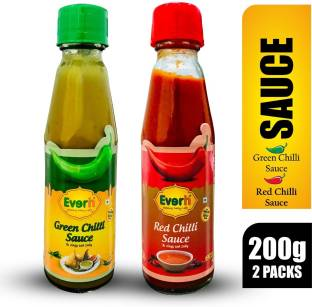 Everin Zingy and Red Chilli Sauce and Green Chilli Spicy Sauce Combo Sauces