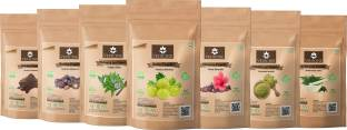 VEDICINE Bio Organic Amla Reetha Shikakai Hibiscus Bhringraj Henna Neem Powder For Hair care (70gm Each)