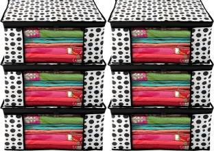 Billion Designer Polka Dots Design 6 Piece Non Woven Fabric Saree Cover/ Clothes Organiser For Wardrobe Set with Transparent Window, Extra Large,(Black & White) - BILLION38089 BILLION038089
