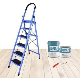 IMPULSE Prime Steel Folding 6 Step Ladder for Home - 6 Wide Anti Skid Steps (Blue & Black) Steel Ladde...