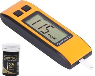 Control D Orange Digital Glucose Blood Sugar testing Monitor Machine with 25 Strips Glucometer