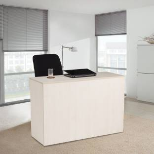 Durian Pinnacle White Engineered Wood Office Table Free Standing, Finish Color   Hiland Pine