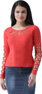 TEXCOCasual Full Sleeve Embellished Women Red Top
