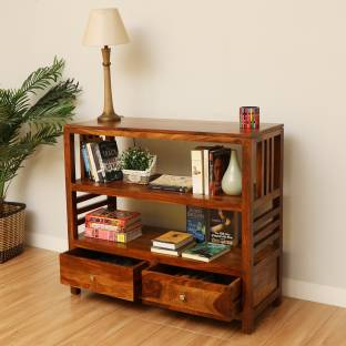Kendalwood Furniture Solid Wood Semi Open Book Shelf Finish Color   Natural Teak Finish, Pre assembled