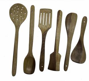 wood artstore 6161141981352 Wooden KITCHENWARE (COOKWARES) - Serving and Cooking Non Stick Wooden Spoon Set of 6 Spatula { Kitchen/Cooking Tools } Brown Kitchen Tool Set
