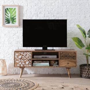 The Attic Solid Wood TV Entertainment Unit Finish Color   Ant. Honey