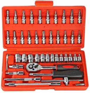 Flymoon 46 pcs. Socket Set ( size - 1/4-Inch ) Tool Ratchet Torque Wrench Combo Tools Kit Car Repair T...