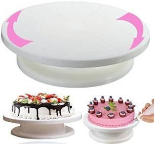 KAIZONE 360 Degree Rotating Revolving Cake Turn Table Plastic Cake Decorating Turntable Stand Cake Decoration Turning Table Tool Plastic Cake Server