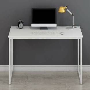 SMS Engineered Wood Computer Desk Straight, Finish Color   Super White