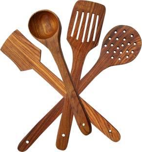 SRE P 4 Premium Premium Non Chemical Wooden Spatula Non Stick Cooking Spoons Set of 4 set of 4 Kitchen Tool Set