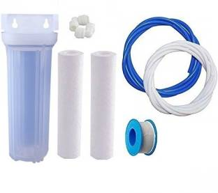 KRPLUS Transparent Pre Filter Housing Kit with 2 PP Spun, Spanner, 5m Pipe Solid Filter Cartridge