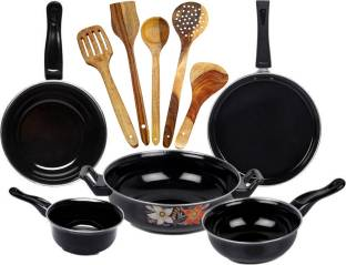 SILVOSWAN Dura Induction Nonstick Cookware 5 Pc Set With Wooden Cooking Spoon 5 Pc Induction Bottom Cookware Set