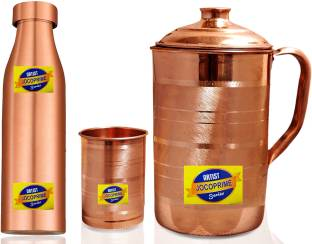 100/% Pure Copper Hammered 2000 ml Jug 1000 ml Water Bottle and 6 PC Tumblers Set