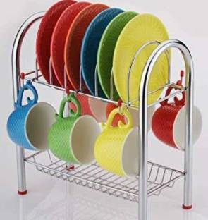 Ecodex Stainless Steel Cup and Saucer Stand/Holder for 6 Cups, 6 Plates Steel Kitchen Rack (Silver) Cup Kitchen Rack