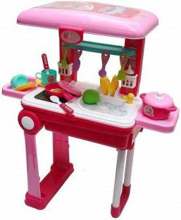 Boutique Shop 2 In 1 Little Chef Kids Kitchen Play Set With Light Sound Cooking Kitchen Set Play Toy 2 In 1 Little Chef Kids Kitchen Play Set With Light