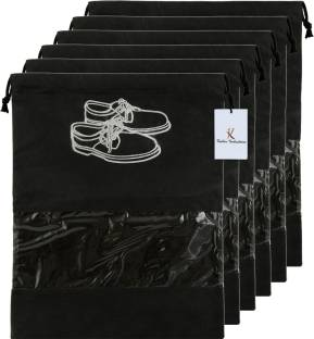 Billion Designer 6 Piece Non Woven Travel Shoe Cover, String Bag Organizer, Black  -39486 039486