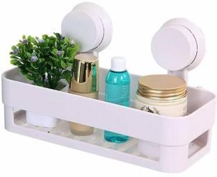 IARA High Quality Plastic Vacuum Suction Bathroom Shelve Soap Shampoo Detergent Bath Essentials Holder Plastic Wall Shelf